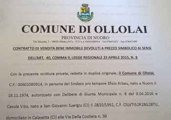 Ollolai, venduta la prima casa a 1 euro